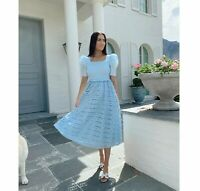 Rachel Parcell XL Smocked A-Line Puff Sleeve Lace Dress Light Blue NWT $169