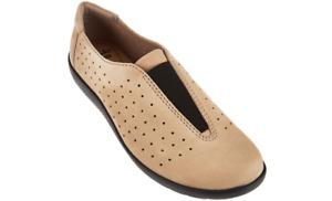 CLARKS Perforated Nubuck Leather Slip On Medora Gemma Sand 7.5