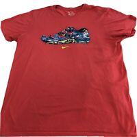 NIKE Jordan Men's T-Shirt - L - Green Front Print Sneaker -Great Condition A9-15