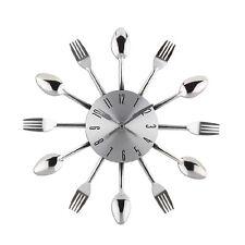 Silber Wanduhr Küchenuhr Besteckuhr Dekouhr Besteck Gabel Löffel Uhr Dekoration