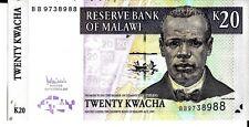 MALAWI 2007 20 KWACHA CURRENCY UNC