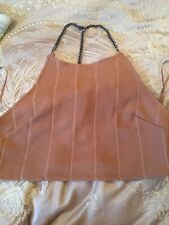 NWT Top Shop Beige / Nude Top With Chain Detail Size 14