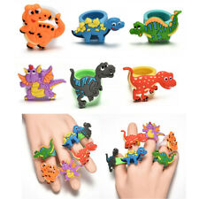 2PCS Random Dinosaur Finger Ring PVC Soft Cartoon Dinosaur Rings Kids Toys Gift