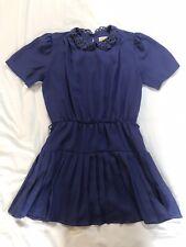 Vintage Purple Dress Pleated Skirt Lace Collar Size 12