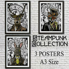 Steampunk Animal Collection 3 Posters A3 Size HARE FOX STAG Pictures