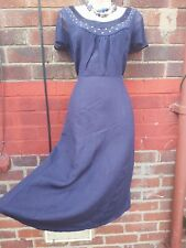 M&S per una navy blue linen dress size 14 fit flare lined studs beads summer