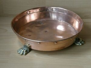 Antique Copper Clawed Foot Planter Plant Pot Stand Bowl.