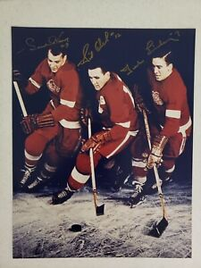 Gordie Howe Ted Lindsay and Sid Abel 11 x 14 Autographed with Gold Paint pen