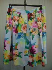 City Chic Plus Size Geo Floral Print Pleated Skirt Medium, 18W Pretty Pink #4127