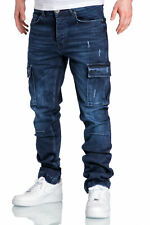 Herren Cargo Jeans Regular Slim Denim Hose Destroyed 7985