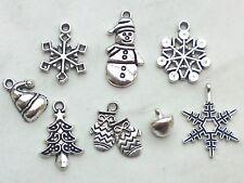 8x Anhänger-Set Weihnachten Charms Schneeflocke Glöckchen Mütze Schmuck Basteln