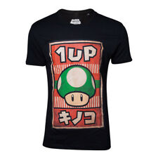 Super Mario Bros - 1UP Mushroom Poster Men's Medium T-Shirt - Black