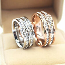 Rose Gold/Silver Titanium Steel CZ Band Men/Women Wedding Couple Rings Size 3-10