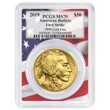 2019 $50 American Gold Buffalo PCGS MS70 First Strike Flag Frame