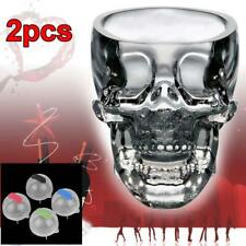 2pcs Clear Crystal Whiskey Red Wine Skull Head Glass Cup + 4pc Ice Brick Mold FT