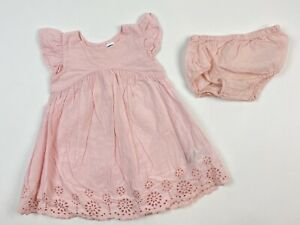 Old Navy 6-12 Months Girls Blush Pink Dress Eyelet Hem Flutter Sleeve Diaper Cov