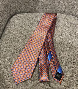 Ermenegildo Zegna Men's 100% Silk Patterned Tie Orange / Blue $210