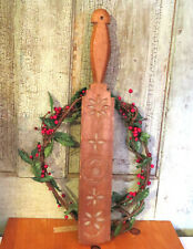 Lollipop Style Wood Wooden Butter Mold Springerle Paddle Carved Swan & Flowers