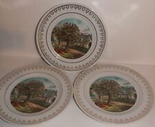 Set of 3 Currier and Ives Seasonal Plates Wall Decor Autumn Gold Edging