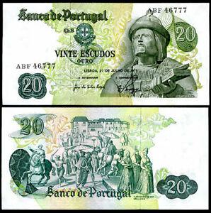 PORTUGAL 20 ESCUDOR 1971 P 173 UNC