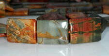 32X25MM PICASSO JASPER GEMSTONE BROWN GREEN RECTANGLE LOOSE BEADS 4 BEADS