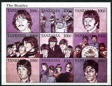 TANZANIA 1995 BEATLES - ROCK AND ROLL SHEET OF NINE  STAMPS MINT NEVER HINGED!