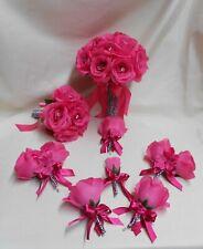 Silk Flowers Wedding Bridal Bouquet 18 pcs Zebra Print Fuchsia Hot Light Pink