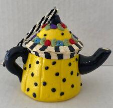 Mary Engelbreit Teapot Ornament, Christmas, Yellow , Polka Dot.