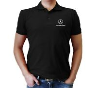 Mercedes Benz T-Shirt MENS Polo Embroidered logo  Auto Car Gift Clothes Shirt