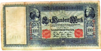 1910 German empire HUGE 100 MARK banknote  Red Seal Well Circulated