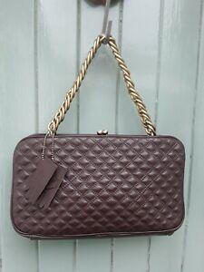Dents Brown Leather Quilted Handbag Shoulder Bag Chain Strap (Gloves)