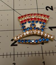 Vintage Brooch Patriotic Hat Red, White, and Blue