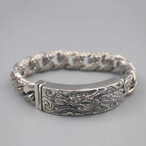 "S925 Sterling Silver Man Bracelet Luck Dragon Shaped Bracelet 8.46""L 120-122g"