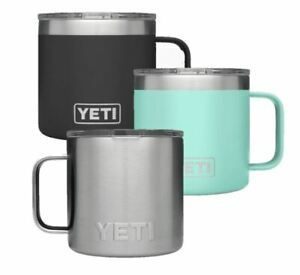 YETI Rambler Mug 14oz  - Black, Seafoam, Stainless Steel. UK Seller.