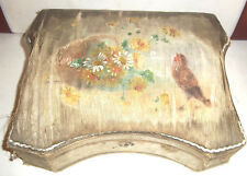 Rare Antique Real Silk Handpainted With Robin & Flowers Jewel Box c1820