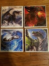 Dragons Fantasy 4x4 Ceramic Coasters Handmade set of 4