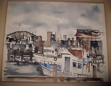 """Early Mark Vranesh View from Dock of SF Bay 15 1/2"""" x 19"""" Watercolor 1979"""