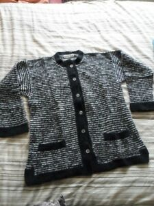 Marion Foale Hand Knitted - Black & Grey Cardigan / Jacket with pockets Size 16