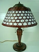 VINTAGE ARTS & CRAFTS CARVED CHERRY WOOD LAMP WITH STICKLEY STYLE BAMBOO SHADE