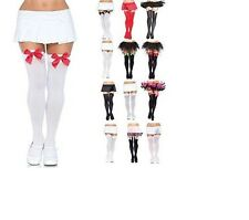 Leg Avenue Nylon Thigh Highs With Bow Red