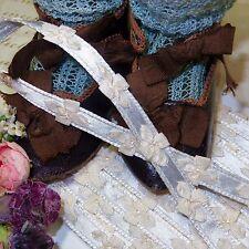 "1y 3/8"" FRENCH BLUE SATIN BOW TRIM RIBBON VTG DOLL DRESS ROSETTE JACQURD ROCOCO"