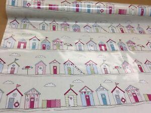 Fryetts PVC BEACH HUT PINK  Fabric,Wipe Clean,Tablecloth/Oilcloth.Full/half mts.