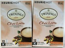 2 Boxes Twinings 6.36 Oz Chai Latte Sweetened & Flavored Black Tea 12 K Cup Pods