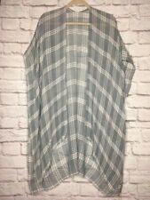1X/2X/3X OS Plus New Gray White Plaid Gauze Kimono Top Jacket Beach Cover-up