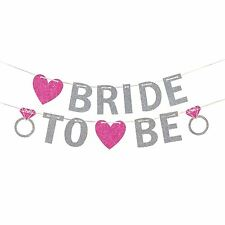 BRIDE TO BE PINK SILVER GLITTER BANNER HEN PARTY HANGING DECORATION