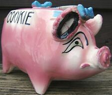 sonsco pig piggy cookie jar ceramic pink blue with woven handle 1940s vintage