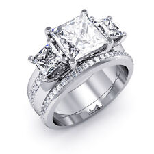 3.30 Ct. Princess Cut Round Micro Pave Diamond Engagement Ring Set 18K GIA E,VS1