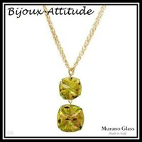 Collier  MURANO GLASS pendentif 24K vert et sa chaîne plaquée or 24K valeur 419€