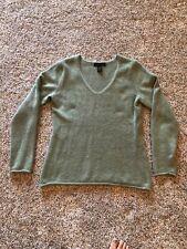 Marisa Christina Women's Angora Wool Blend Sweater Green V-Neck Medium Soft Warm