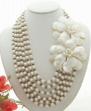 "22"" White Pearl Crystal Shell  Flower Statement Necklace"